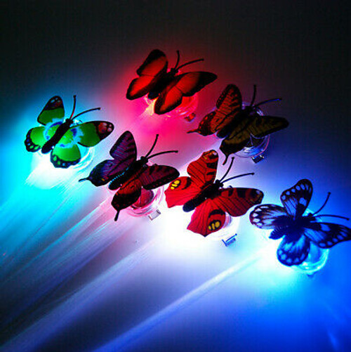 Butterfly Flashing Fiber Optic Hair Clips