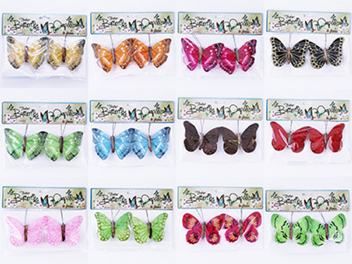 Feather Butterflies On Clips 2PK