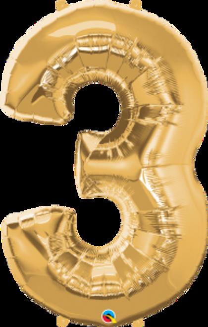 "Number Three - Metallic Gold 44"""