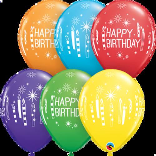 "Birthday Candles & Starbursts 11"" Latex Balloons"