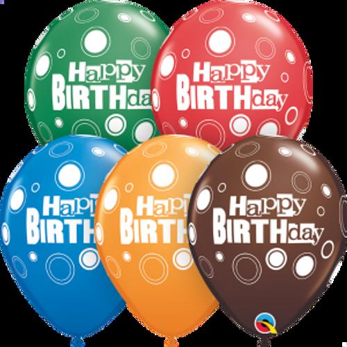 "Birthday Bold Dots  11"" Latex Balloons"