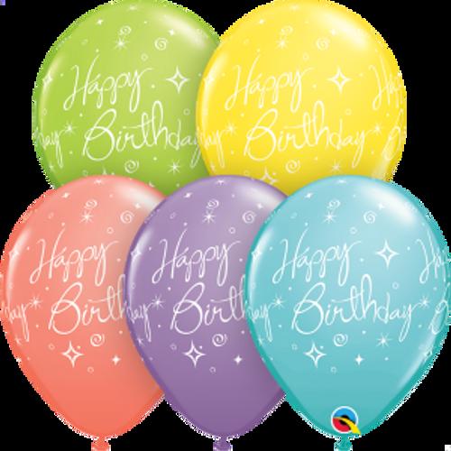 """Birthday Elegant Sparkles & Swirls 11"""" Latex Balloons"""
