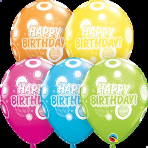 "Birthday Dots & Glitz  11"" Latex Balloons"