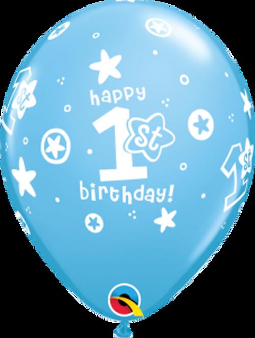 "1st Birthday Circle Stars - Boy  11"" Latex Balloons"