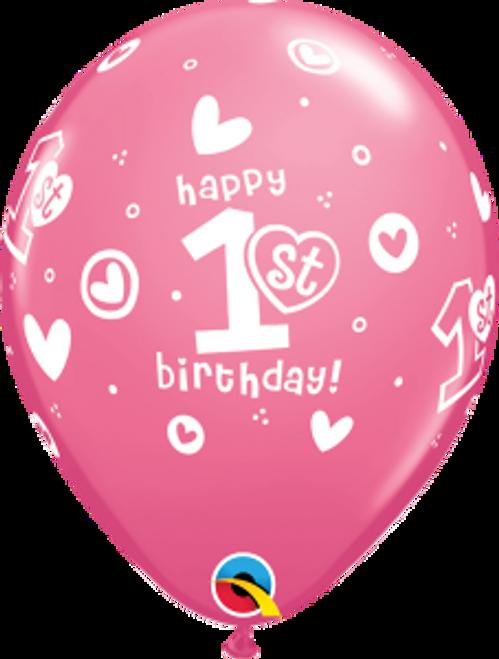 "1st Birthday Circle Hearts - Girl  11"" Latex Balloons"