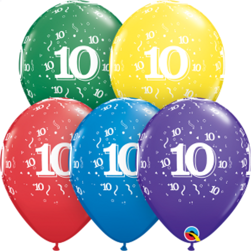 "10 Confetti-A-Round 11"" Latex Balloon"