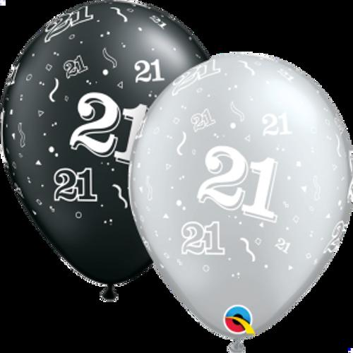 """21 Confetti-A-Round Pearl 11"""" Latex Balloon"""