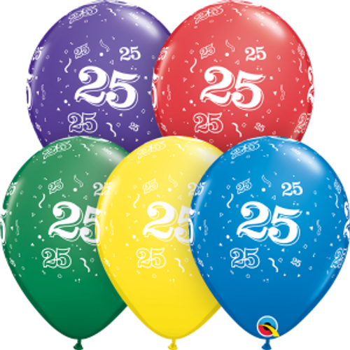 """25 Confetti-A-Round 11"""" Latex Balloon"""