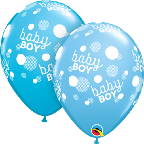 "Baby Boy Blue Dots-A-Round 11"" Latex Balloon"