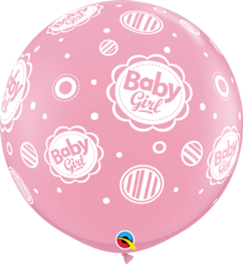 Baby Girl Dots-A-Round 3 Foot Latex Balloon