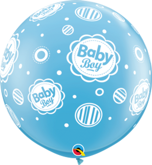 Baby Boy Dots-A-Round 3 Foot Latex Balloon