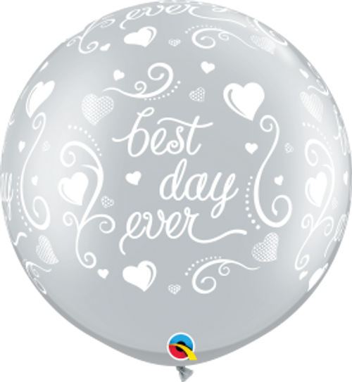 Best Day Ever Hearts-A-Round 3 Foot Latex Balloon