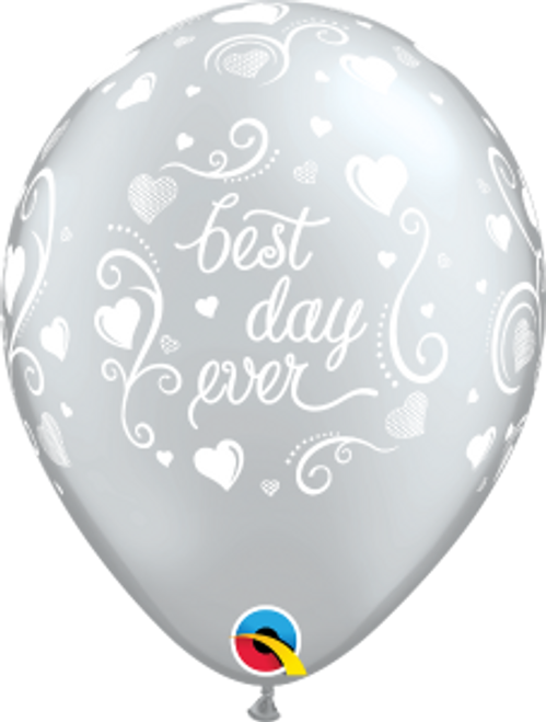 "Best Day Ever Hearts 11"" Latex Balloon"