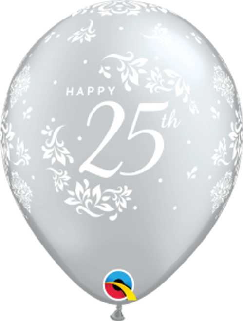 "25th Anniversary Damask 11"" Latex Balloon"