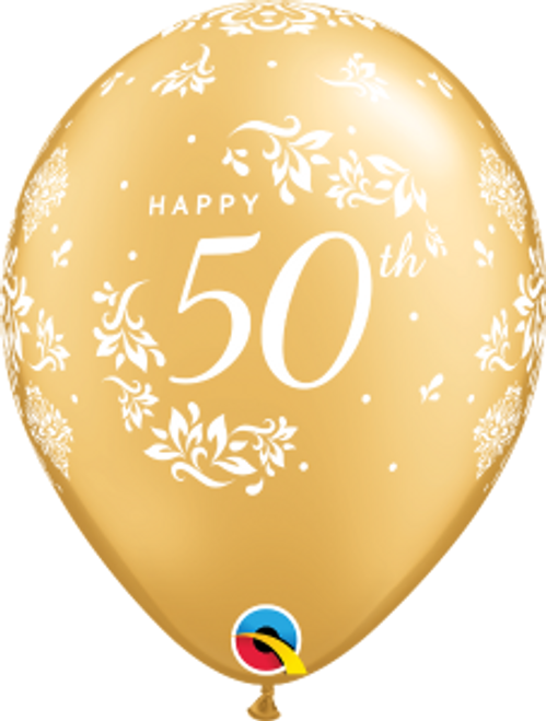 "50th Anniversary Damask 11"" Latex Balloon"