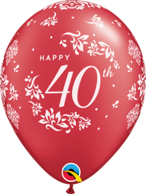 "40th Anniversary Damask 11"" Latex Balloon"