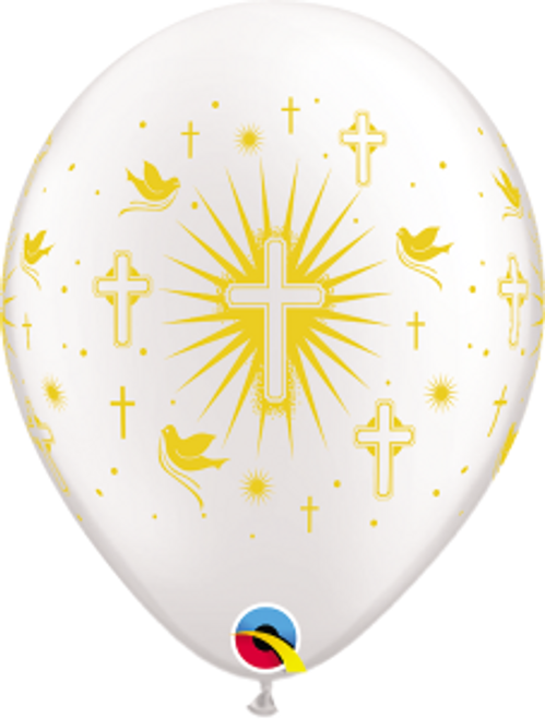 "Cross & Doves Gold 11"" Latex Balloon"