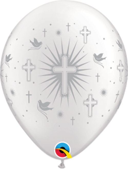 "Cross & Doves Silver 11"" Latex Balloon"