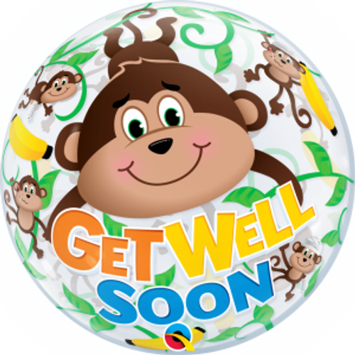 "Get Well Monkeys 22"" Bubble Balloon"