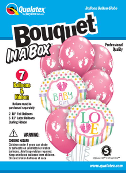 Baby Girl Foot Prints Bouquet In A Box