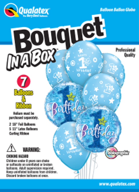 1st Birthday Circles Stars – Boy Bouquet In A Box