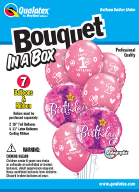 1st Birthday Circles Stars – Girl Bouquet In A Box