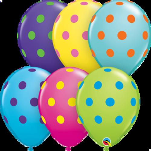 "Big Polka Dots Colorful Assortment 11"" Latex Balloon"