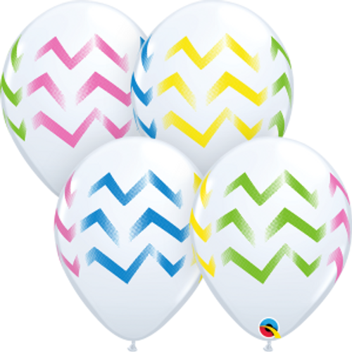 "Colorful Chevron Stripes White 11""  Latex Balloon"
