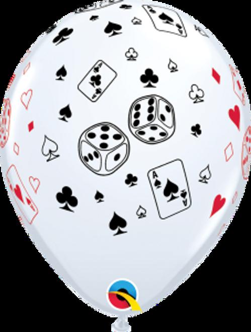 "Cards & Dice 11""  Latex Balloon"