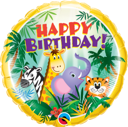 "Birthday Jungle Friends 18"" Foil Balloon"