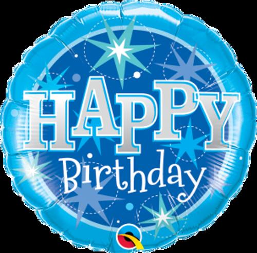 "Birthday Blue Sparkle 18"" Foil Balloon"