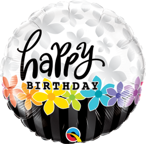 """Birthday Band of Flowers 18"""" Foil Balloon"""