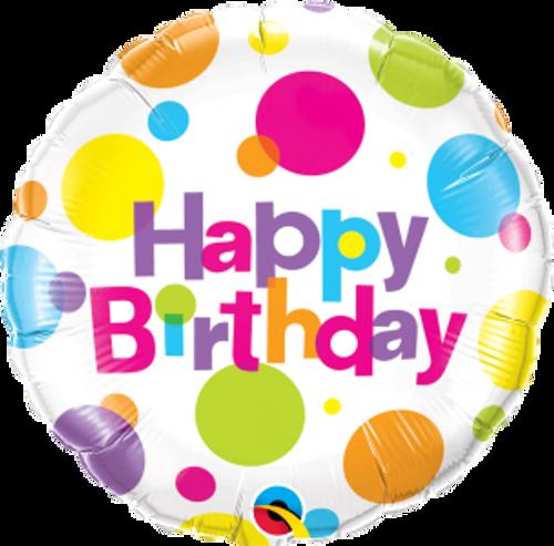 "Birthday Big Polka Dots 18"" Foil Balloon"