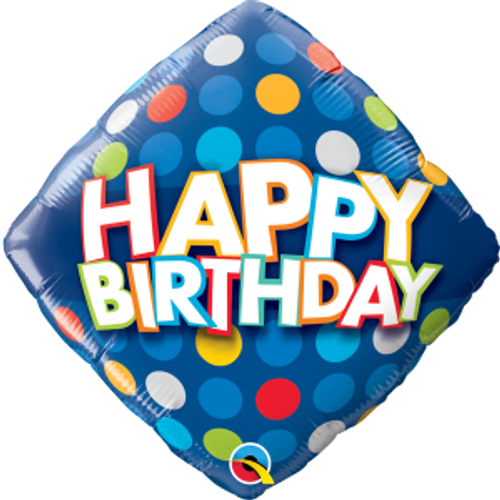 "Birthday Blue & Colourful Dots 18"" Foil Balloon"