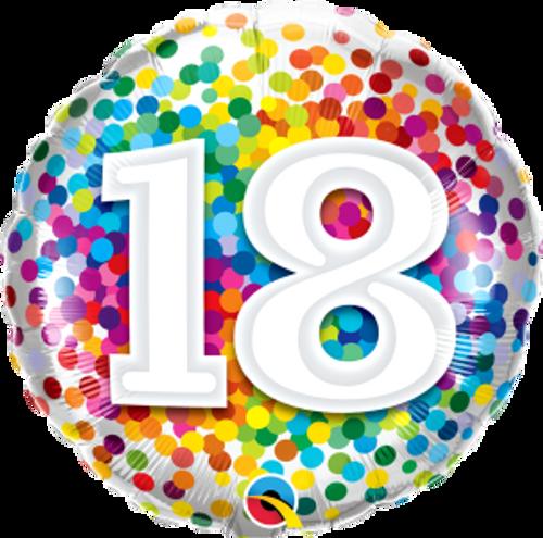 "18 Rainbow Confetti 18"" Foil Balloon"
