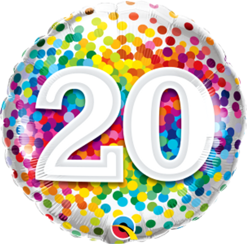 "20 Rainbow Confetti 18"" Foil Balloon"