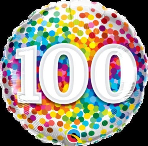 "100 Rainbow Confetti 18"" Foil Balloon"