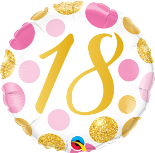 "18 Pink & Gold Dots 18"" Foil Balloon"