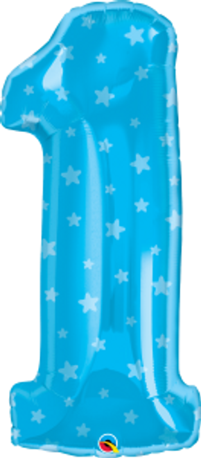 """Number One Blue Stars 38"""" Foil Balloon"""