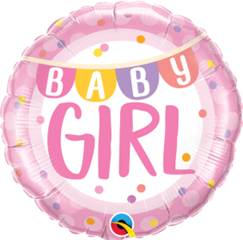"Baby Girl Banner & Dots 18"" Foil Balloon"