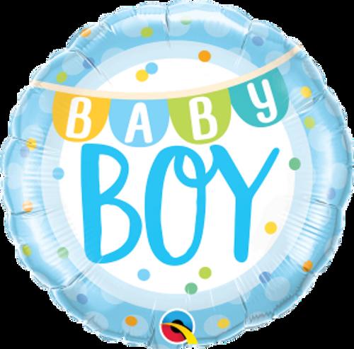"Baby Boy Banner & Dots 18"" Foil Balloon"