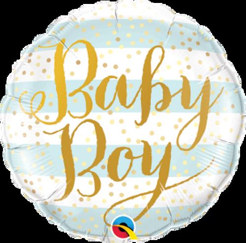 """Baby Boy Blue Stripes 18"""" Foil Balloon"""