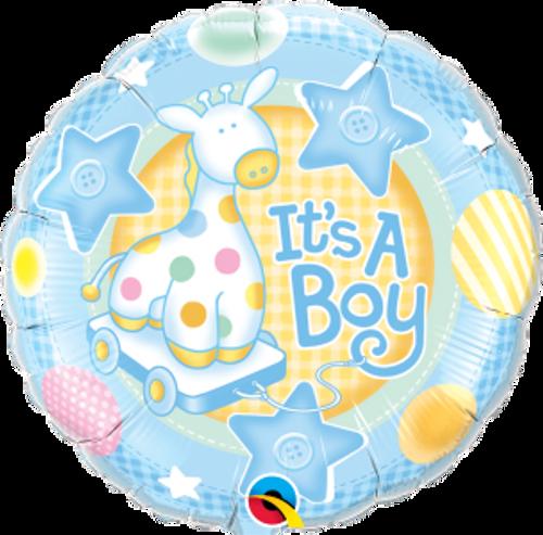 """It's A Boy Soft Giraffe 18"""" Foil Balloon"""