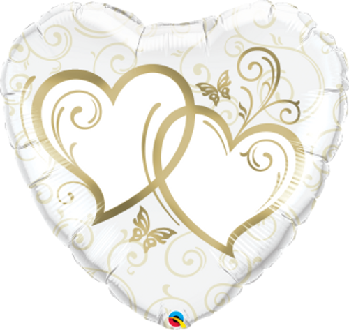 """Entwined Hearts Gold 36"""" Foil Balloon"""