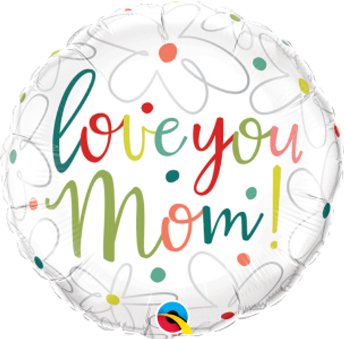 """Love You Mom Scribble Flowers 18"""" Foil Balloon"""