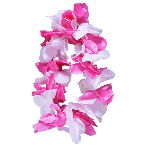 Pink & White Hawaiian Flower Lei Headband