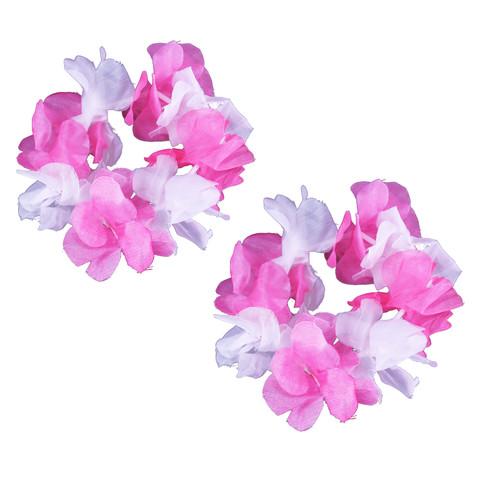 Pink & White Hawaiian Flower Lei Bracelets