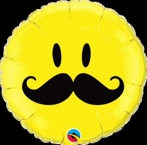 """Smile Face Mustache 18"""" Foil Balloon"""
