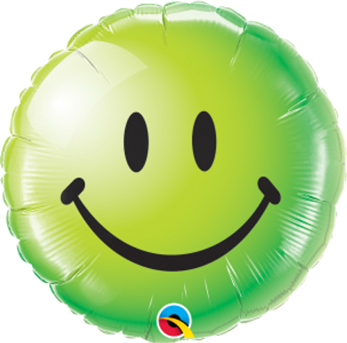"""Smiley Face Green 18"""" Foil Balloon"""