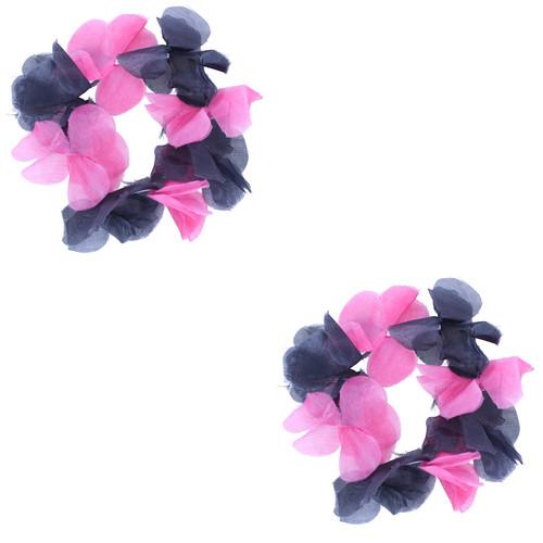 Fuschia & Black Hawaiian Flower Lei Bracelets